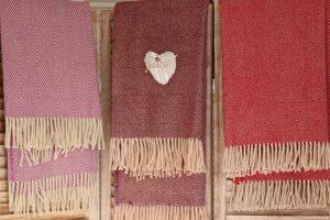 Plaid laine rose rouge